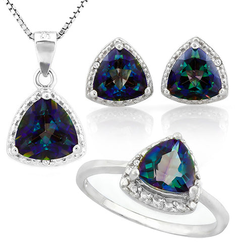 MARVELOUS ! 4 3/5 CARAT OCEAN MYSTIC GEMSTONE & DIAMOND 925 STERLING SILVER SET ( Ring, Earring and Pendant)