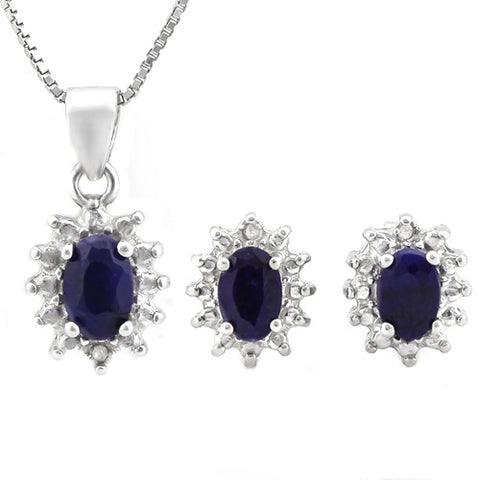 HULKING 2 CARAT ENHANCED GENUINE SAPPHIRE & DIAMOND 925 STERLING SILVER