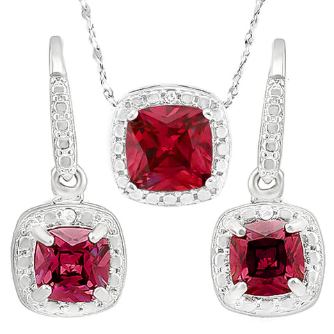 ADORABLE ! CREATED RUBY 925 STERLING SILVER SET