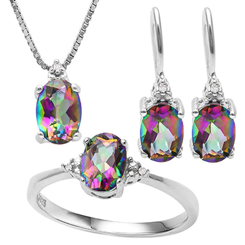 STUNNING ! 2 CARAT OCEAN RAINBOW MYSTIC GEMSTONE & (15 PCS) DIAMOND 925 STERLING SILVER SET