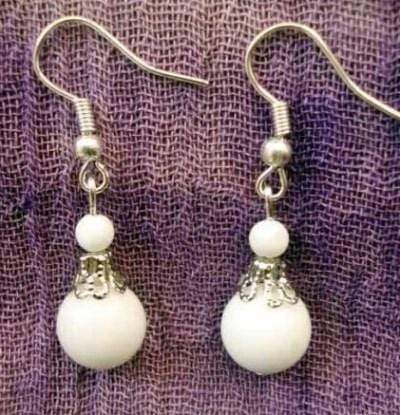 Alloy With Black or White Bead Dangling Earrings - Wholesalekings.com