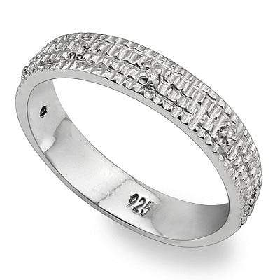 ALLURING 0.03 CT WHITE DIAMOND PLATINUM OVER 0.925 STERLING SILVER RING wholesalekings wholesale silver jewelry