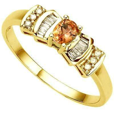 ALLURING 0.23 CT GENUINE ORANGE SAPPHIRE & 6 PCS GENUINE DIAMOND 10K SOLID YELLOW GOLD RING wholesalekings wholesale silver jewelry