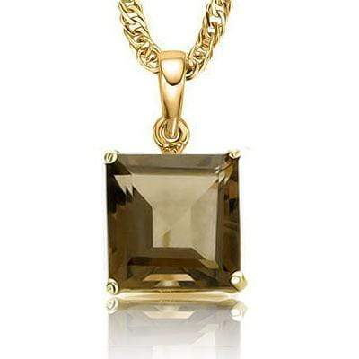 ALLURING 0.5 CARAT TW (1 PCS) SMOKEY TOPAZ 10K SOLID YELLOW GOLD PENDANT wholesalekings wholesale silver jewelry