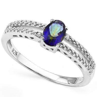 ALLURING 0.512 CARAT TW OCEAN MYSTIC GEMSTONE & GENUINE DIAMOND PLATINUM OVER 0.925 STERLING SILVER RING wholesalekings wholesale silver jewelry