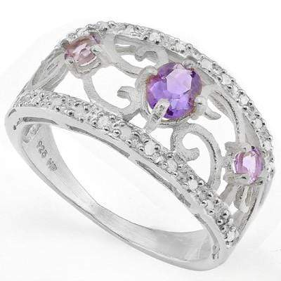 ALLURING 0.60 CT TW AMETHYST & 2 PCS DIAMOND PLATINUM OVER 0.925 STERLING SILVER RING - Wholesalekings.com