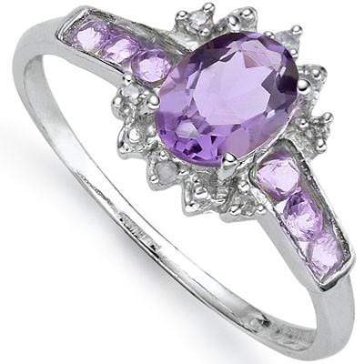ALLURING 0.80 CT AMETHYST & 6 PCS AMETHYST 0.925 STERLING SILVER W/ PLATINUM  RING wholesalekings wholesale silver jewelry