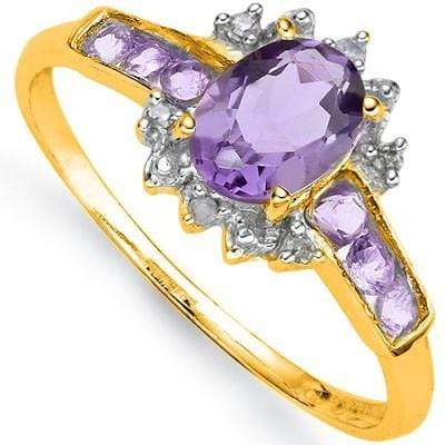 ALLURING 0.80 CT AMETHYST & 6 PCS AMETHYST 24K GOLD PLATED RING wholesalekings wholesale silver jewelry