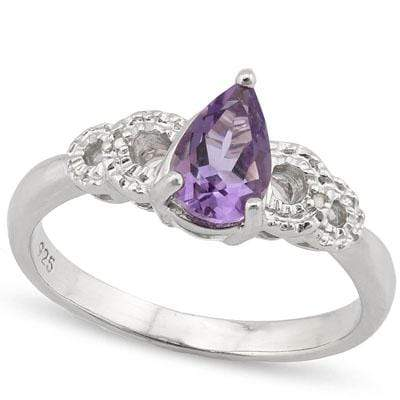 ALLURING 0.827 CARAT TW AMETHYST & GENUINE DIAMOND PLATINUM OVER 0.925 STERLING SILVER RING - Wholesalekings.com
