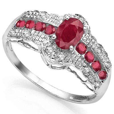 ALLURING 0.98 CARAT TW (11 PCS) GENUINE RUBY & GENUINE RUBY PLATINUM OVER 0.925 STERLING SILVER RING - Wholesalekings.com
