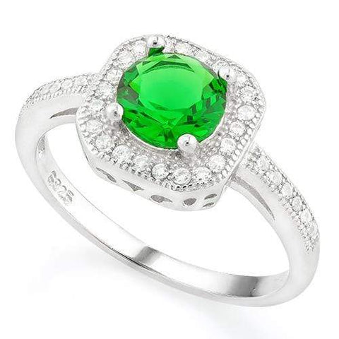 ALLURING !  1 1/5 CARAT CREATED EMERALD &  1/3 CARAT (36 PCS) FLAWLESS CREATED DIAMOND 925 STERLING SILVER HALO RING - Wholesalekings.com