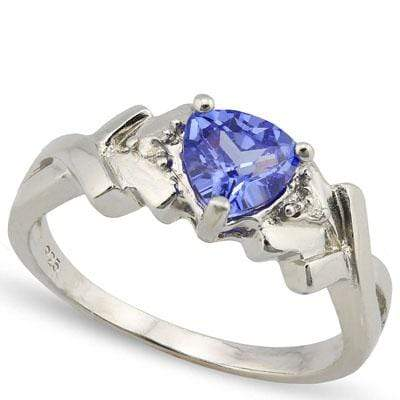 ALLURING 1.334 CARAT TW LAB TANZANITE & GENUINE DIAMOND PLATINUM OVER 0.925 STERLING SILVER RING - Wholesalekings.com