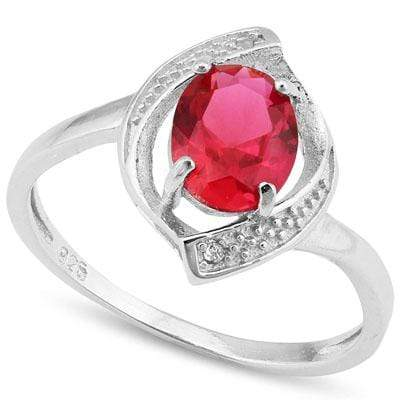 ALLURING 1.35 CT CREATED RUBY & 2PCS GENUINE DIAMOND PLATINUM OVER 0.925 STERLING SILVER RING - Wholesalekings.com