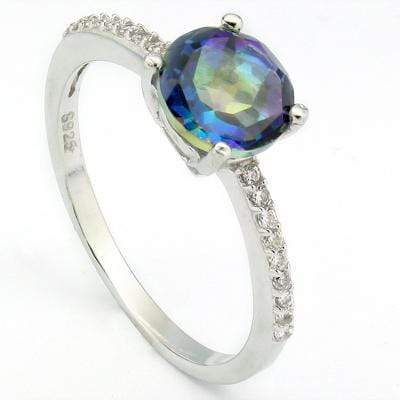 ALLURING 1.40 CT BLUE MYSTIC GEMSTONE & 20 PCS CREATED WHITE SAPPHIRE 0.925 STERLING SILVER W/ PLATINUM RING - Wholesalekings.com