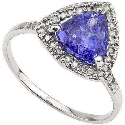 ALLURING 1.51 CT GENUINE TANZANITE & 28 PCS WHITE DIAMOND 10K SOLID WHITE GOLD RING wholesalekings wholesale silver jewelry