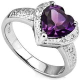 ALLURING 1.862 CARAT TW AMETHYST & GENUINE DIAMOND PLATINUM OVER 0.925 STERLING SILVER RING - Wholesalekings.com