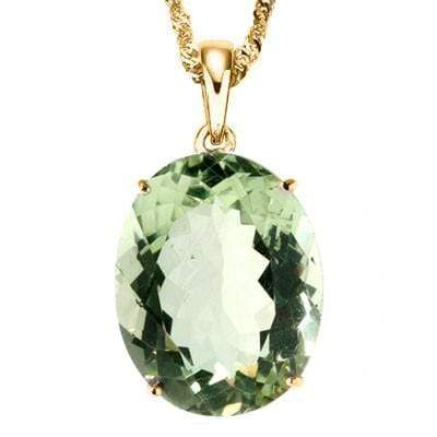 ALLURING 1.94 CT GREEN AMETHYST 10K SOLID YELLOW GOLD PENDANT - Wholesalekings.com