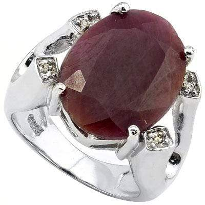 ALLURING 16CT GENUINE RUBY & 4 PCS GENUINE DIAMOND PLATINUM OVER 0.925 STERLING SILVER RING - Wholesalekings.com