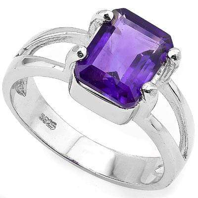ALLURING 2.00 CT AMETHYST 0.925 STERLING SILVER W/ PLATINUM RING - Wholesalekings.com