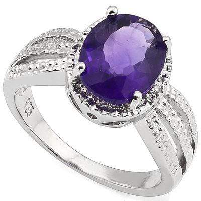 ALLURING 2.26 CARAT TW AMETHYST & GENUINE DIAMOND PLATINUM OVER 0.925 STERLING SILVER RING - Wholesalekings.com