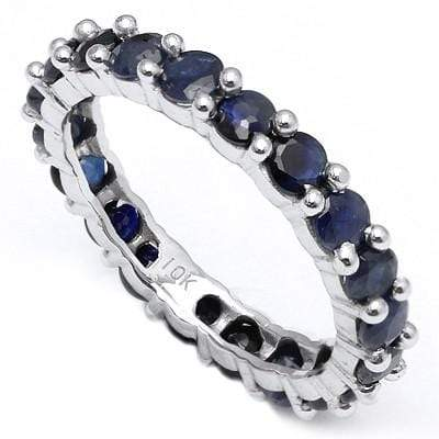 ALLURING 3.10 CT GENUINE SAPPHIRE 10K SOLID WHITE GOLD RING - Wholesalekings.com