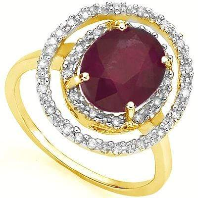 ALLURING 3.3 CARAT TW (19 PCS) GENUINE RUBY & GENUINE DIAMOND 18K SOLID YELLOW G - Wholesalekings.com