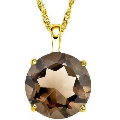ALLURING 3 CARAT TW ROUND 10MM SMOKEY TOPAZ 10K SOLID YELLOW GOLD PENDANT - Wholesalekings.com