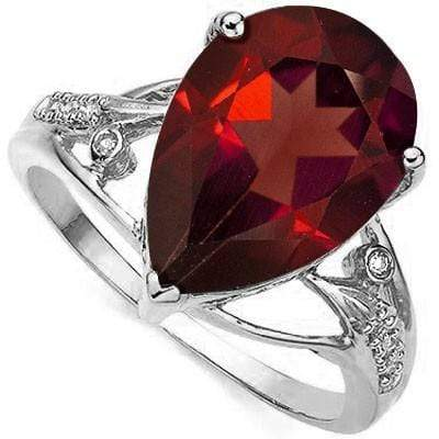 ALLURING 5.87 CT GARNET & 2 PCS WHITE DIAMOND 0.925 STERLING SILVER W/ PLATINUM RING - Wholesalekings.com