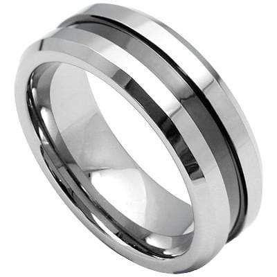 ALLURING BLACK ION INLAY BEVEL EDGE CARBIDE TUNGSTEN RING - Wholesalekings.com