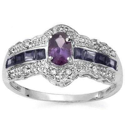 AMAZING 0.25 CT AMETHYST & 8 PCS GENUINE SAPPHIRE 0.925 STERLING SILVER W/ PLATINUM  RING - Wholesalekings.com