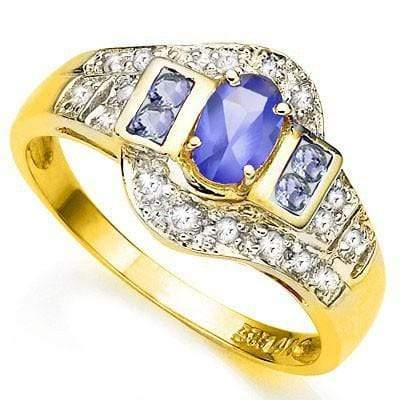 AMAZING 0.45 CT GENUINE TANZANITE & 4 PCS GENUINE TANZANITE 10K SOLID YELLOW GOLD RING wholesalekings wholesale silver jewelry