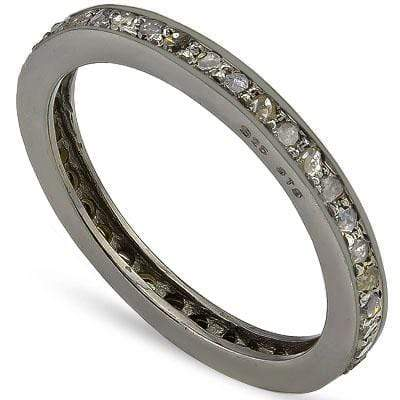 AMAZING 0.50 CT GENUINE DIAMOND 14K BLACK GOLD PLATED OVER 925 SILVER VICTORIAN RING - Wholesalekings.com