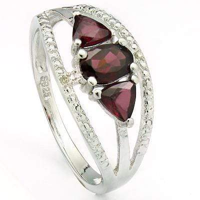 AMAZING 0.70 CT GARNET & 2 PCS GARNET PLATINUM OVER 0.925 STERLING SILVER RING - Wholesalekings.com