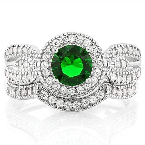 AMAZING ! 1 1/5 CARAT CREATED EMERALD &  2/5 CARAT (40 PCS) FLAWLESS CREATED DIAMOND 925 STERLING SILVER HALO RING - Wholesalekings.com