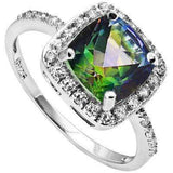 AMAZING 1.392 CARAT TW (25 PCS) GREEN MYSTIC GEMSTONE & CREATED WHITE SAPPHIRE PLATINUM OVER 0.925 STERLING SILVER RING - Wholesalekings.com