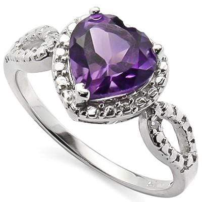 AMAZING 1.61 CARAT TW AMETHYST & GENUINE DIAMOND PLATINUM OVER 0.925 STERLING SILVER RING - Wholesalekings.com