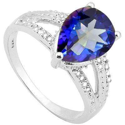 AMAZING 1.862 CARAT TW (3 PCS) OCEAN MYSTIC GEMSTONE & GENUINE DIAMOND PLATINUM OVER 0.925 STERLING SILVER RING - Wholesalekings.com