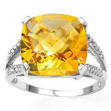 AMAZING 10.14 CARAT TW (21 PCS) CITRINE & GENUINE DIAMOND 10K SOLID WHITE GOLD R - Wholesalekings.com