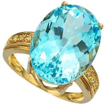 AMAZING 16.05 CARAT TW (7 PCS) BLUE TOPAZ & GENUINE DIAMOND 10K SOLID YELLOW GOLD RING wholesalekings wholesale silver jewelry