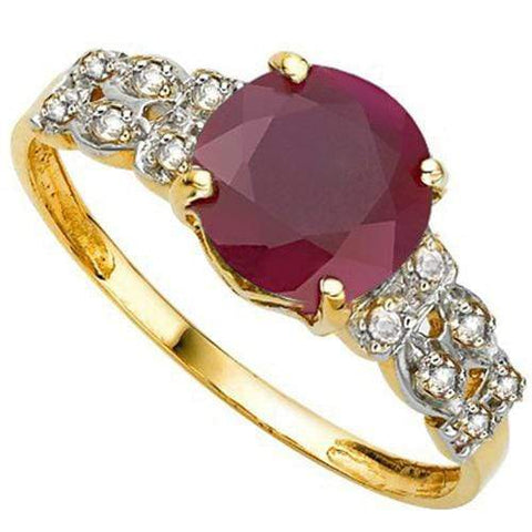 AMAZING 2.5 CT RED RUBY  & 12 PCS GENUINE DIAMOND 10K SOLID YELLOW GOLD RING - Wholesalekings.com