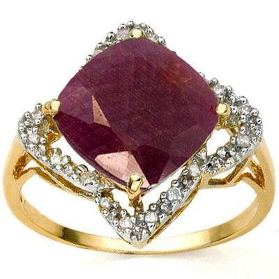 AMAZING 4.02 CARAT TW (21 PCS) GENUINE RUBY & GENUINE DIAMOND 18K SOLID YELLOW G - Wholesalekings.com