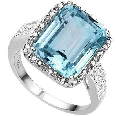AMAZING 5.40 CT BLUE TOPAZ & 2 PCS WHITE DIAMOND 0.925 STERLING SILVER W/ PLATINUM RING wholesalekings wholesale silver jewelry