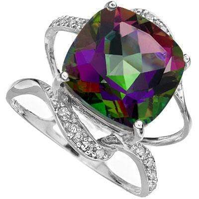 AMAZING 5.85 CARAT 10MM MYSTIC GEMSTONE & GENUINE DIAMOND 10K SOLID WHITE GOLD R - Wholesalekings.com