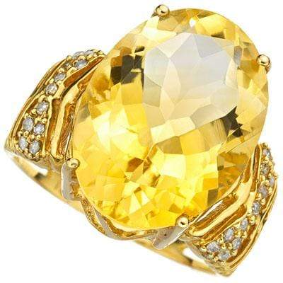 AMAZING 9.08 CARAT TW (23 PCS) CITRINE & GENUINE DIAMOND 10K SOLID YELLOW GOLD R - Wholesalekings.com