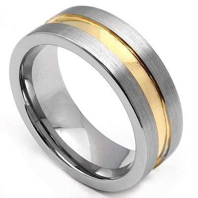 AMAZING BEVEL FINISH GOLD INLAY  CARBIDE TUNGSTEN RING - Wholesalekings.com