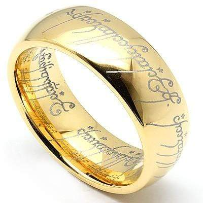 "AMAZING YELLOW GOLD PLATED ""LORD OF THE RING"" TUNGSTEN CARBIDE RING - Wholesalekings.com"