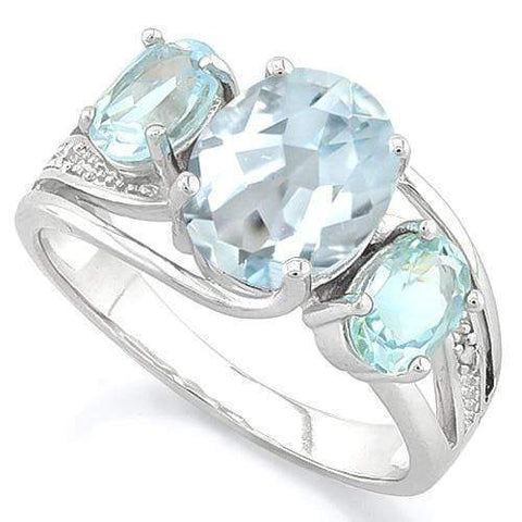 AQUAMARINE & 1 1/5 CT BABY SWISS BLUE TOPAZ 925 STERLING SILVER RING wholesalekings wholesale silver jewelry