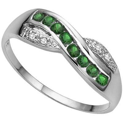 ASTONISHING 0.29 CT GENUINE EMERALD & 2 PCS WHITE DIAMOND PLATINUM OVER 0.925 STERLING SILVER RING