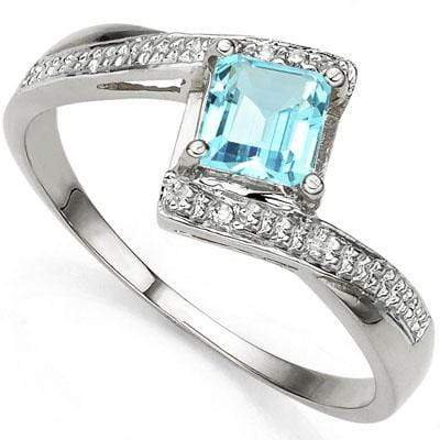 ASTONISHING 0.84 CARAT TW (3 PCS) BLUE TOPAZ & GENUINE DIAMOND PLATINUM OVER 0.925 STERLING SILVER RING - Wholesalekings.com
