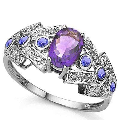 ASTONISHING 1.05 CARAT TW AMETHYST & GENUINE TANZANITE PLATINUM OVER 0.925 STERLING SILVER RING - Wholesalekings.com